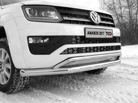 Volkswagen Amarok 2016- Защита передняя нижняя (двойная) 76,1/42,4 мм с решеткой (лист)
